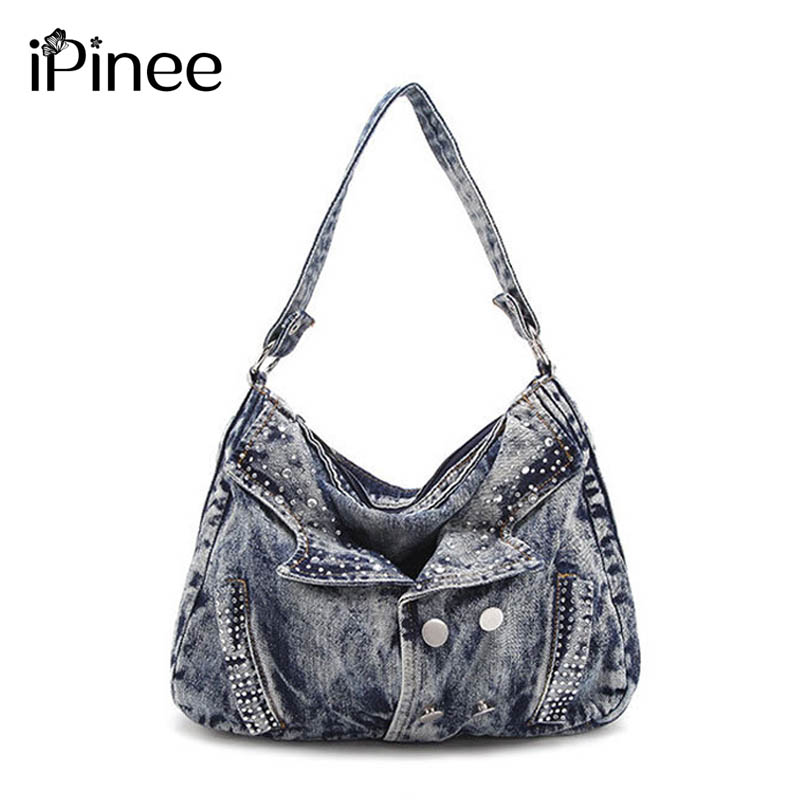 iPinee Famous Brand Women Denim Handbags  Ladies Clothes Bag Small Crossbody Bag for Women Fashion Motorcycle Bag