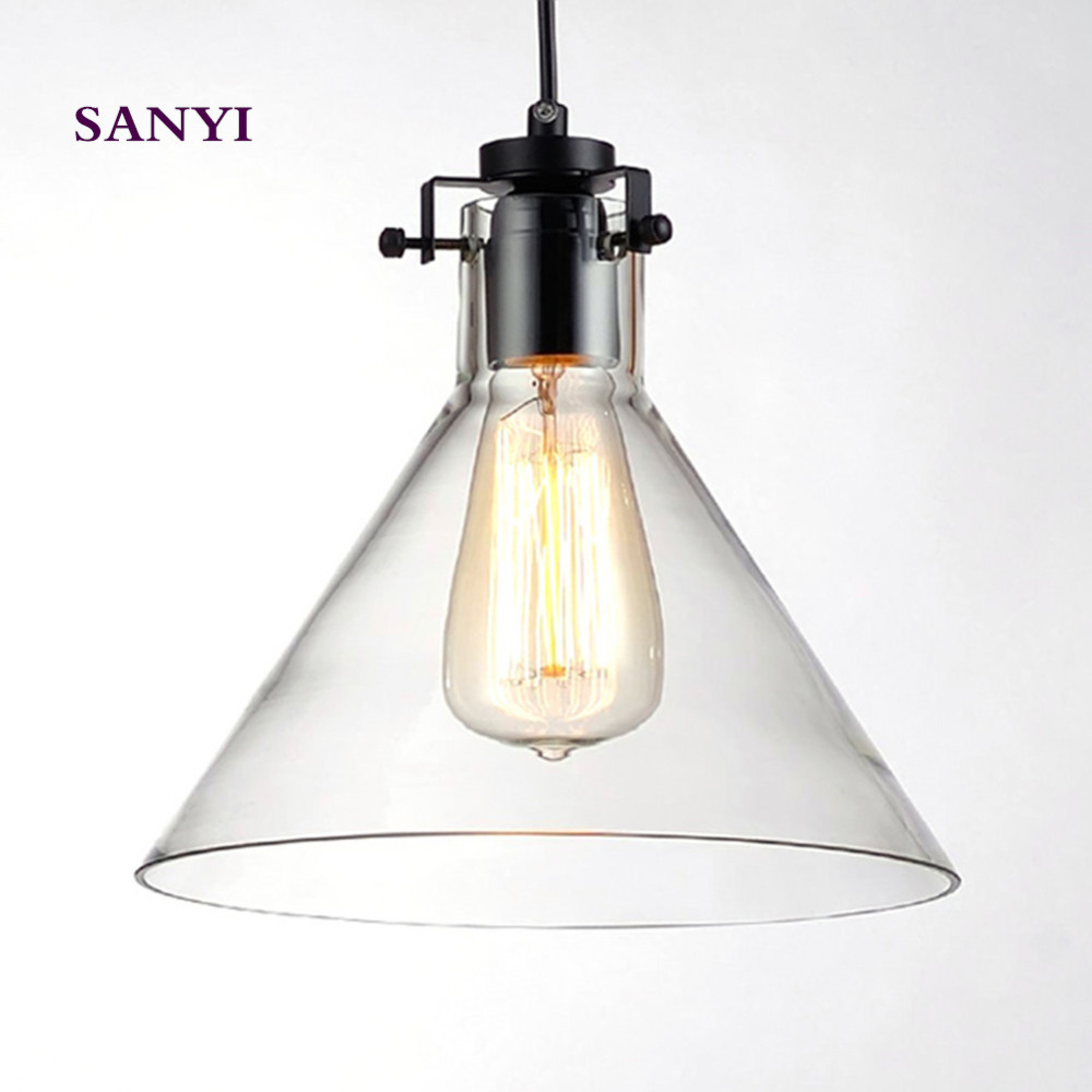 Vintage Funnel Clear Glass Lamshade Loft Iron+Glass Pendant Light With E27 40W Bulb For Room Dcoration Lighting