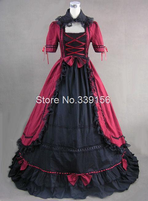 Hot sale red gothic victorian medieval period dresses floor-length plus size vintage dress