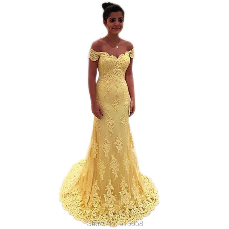yellow lace prom dress 2017 - photo #12