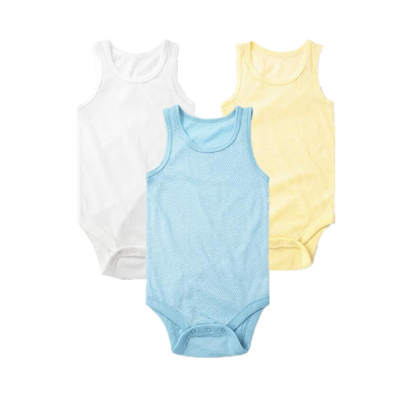 3pcs/pack New Style  Summer Breathable Mesh Baby Bodysuits Soft Cotton Vest Jumpsuits Baby Boy Sleeveless Bodysuit Body Infant