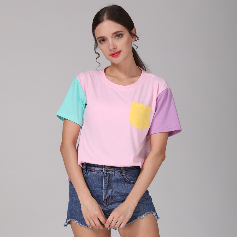 Summer Style Fashion Women T Shirts Kawaii Casual Cotton Spell Color Tops Patchwork Kpop Tshirt Free Shippingping 4