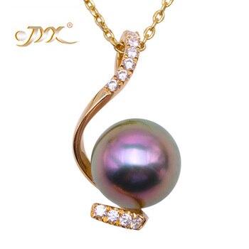 JYX Exquisite 14 K Gold AAA Qualität 9,5mm Runde Schwarz Tahitian Südsee Zuchtperlen Anhänger Halskette für Frauen