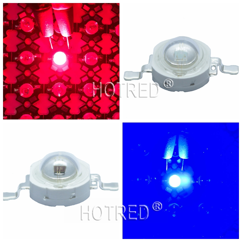 50pcs/lot LED Grow Light Diode LED Emitter 3W Grow Leds Deep Red Blue High Power Chip Growing Lamp 440nm 445nm 450nm 660nm цена