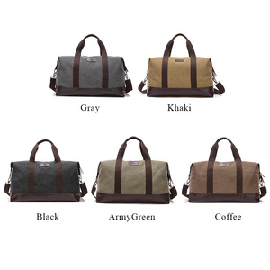 Image 3 - Vintage Canvas Bags for Men Travel Hand Luggage Bags Weekend Overnight Bags Big Outdoor Storage Bag Large Capacity Duffle Bag