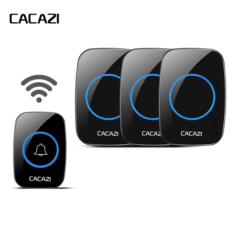 CACAZI New Wireless Doorbell Waterproof Long Remote EU/UK/US Plug Cordless 38Pcs Door Bell 220V Battery 1 Transmitter 3 Receiver wireless cordless digital doorbell remote door bell chime waterproof eu us uk au plug 110 220v