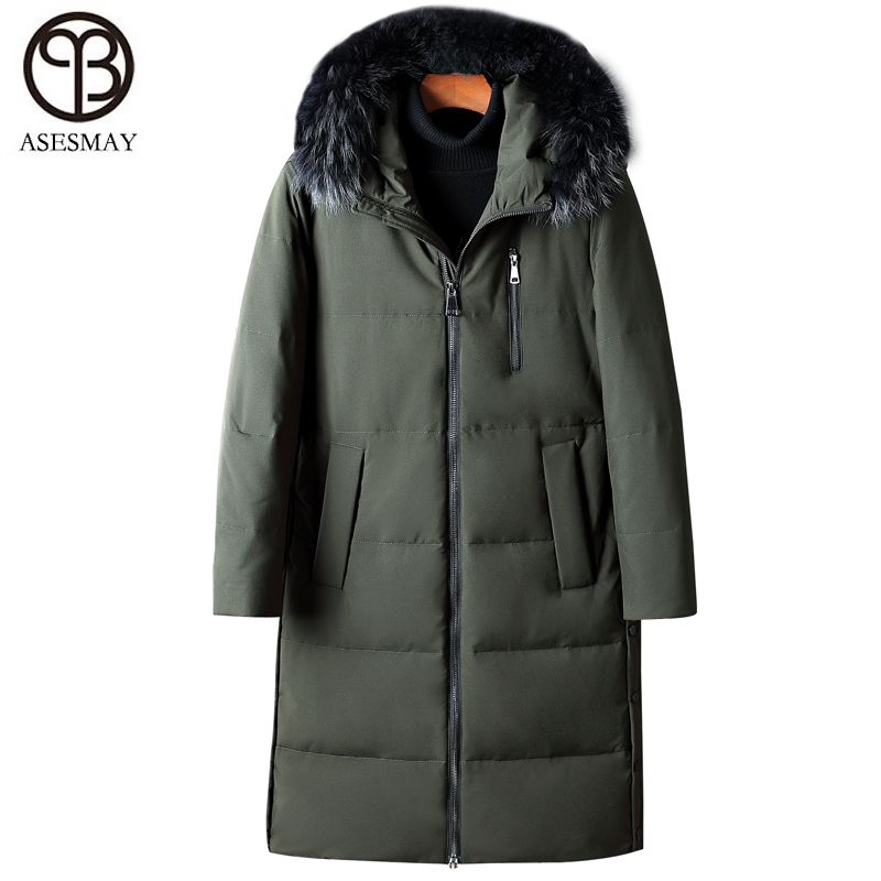 ec59db25 Jackets Menn Military Parka long Down Vinterjakke 2018 Feather Asesmay X  Warm Coat Green Thick Hoodies ...