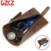 GZCZ Men Genuine Leather Key Holder Small Keychain Covers Bag Rings Wallets Multi Function Key Case