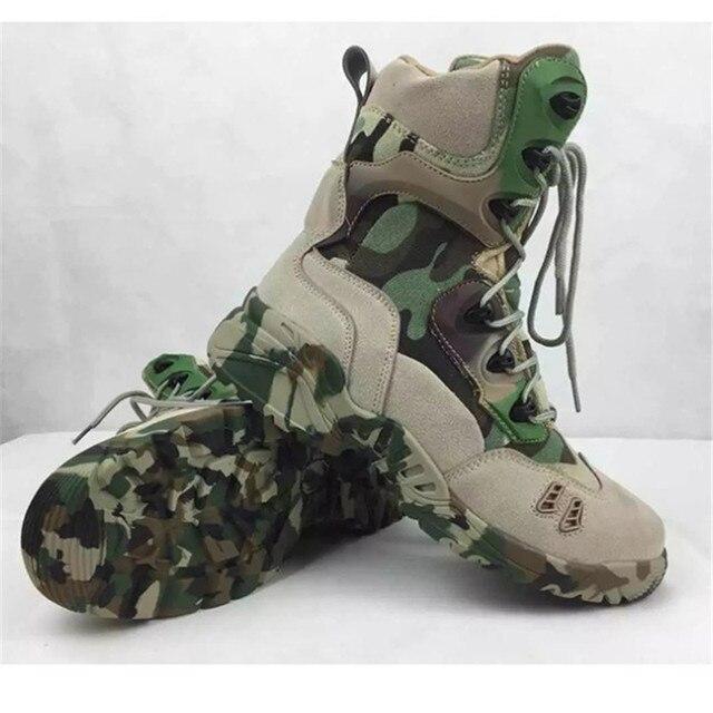 Botas de invierno de los hombres zapatos de Ocio Al Aire Libre Los Hombres de Alta ayuda zapatos de Escalada botas de Asalto camuflaje de fondo Sólido Oxford botas de Combate