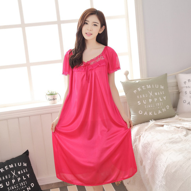 130ab7fd4f2c Hot 2018 Women's fashion Cozy Large size sleepwear Breathable Short sleeve  Nightgowns Sexy V-neck Silk Nightgown