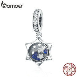 Bamoer Echt 925 Sterling Zilver Lichtgevende Maan Clear Cubic Zirkoon Hanger Charms Fit Armbanden & Kettingen Sieraden SCC1083