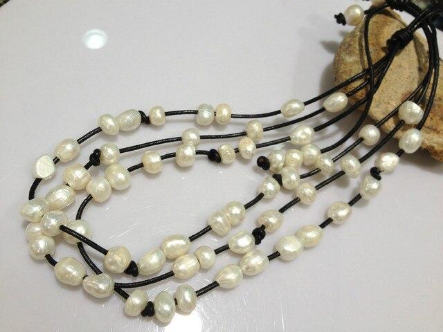 Барокко Пресной Воды Жемчужное Ожерелье Многослойные Черный кожаный Ожерелье Для Женщин Повседневная Белый Серый Многоцветный Настоящие Жемчужины