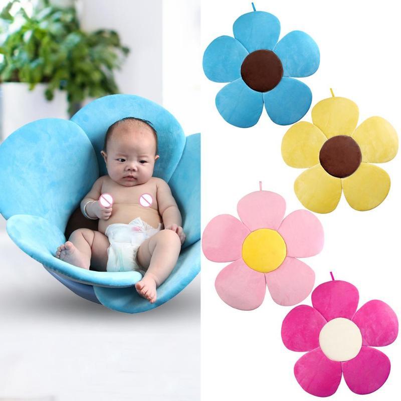 Newborn Baby Bathtub Mat Foldable Blooming Flower Bath Support Cushion Baby Play Pillow Sunflower Mat Security Petal Seat Pad