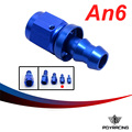 PQY RACING- AN6 6AN AN- 6 AN - 6 STRAIGHT BLUE PUSH ON LOCK SOCKETLESS HOSE END FITTING ADAPTER PQY- SL2000- 06- 011