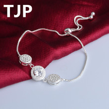TJP Popular Crystal Stones Female Bracelets Fashion Silver 925 Jewelry For Women Party Accessories Girl Lady Gift Hot