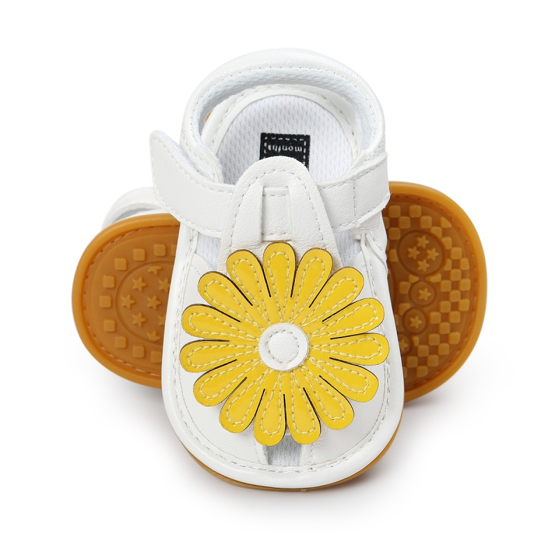 Summer Newborn Toddler Shoes Soft PU Baby Girls Sandals Big Sunflower Shoes Children Shoes