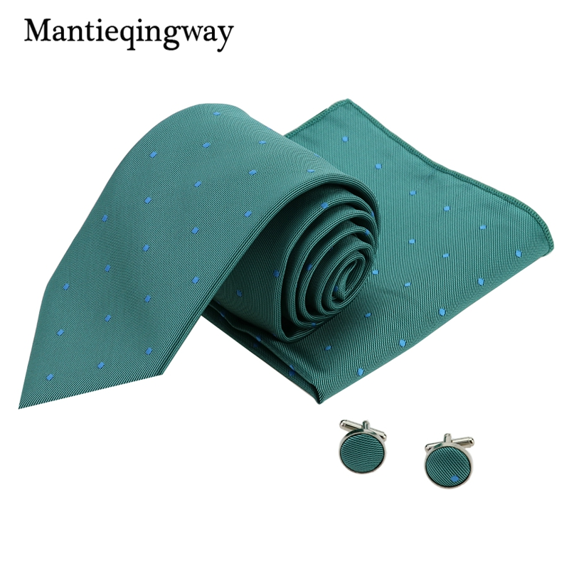 Mantieqingway Polyester Print 24*24cm Pocket Square 8.5cm Necktie Cufflinks Set For Men Chest Towel Neckwear Jacquard Ties 2017