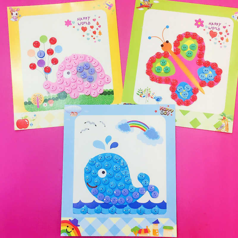 Children DIY Button Drawing Toy Stickers For Home Kindergarten Nursery Educational Picture Handmade Paste Painting Material Bag