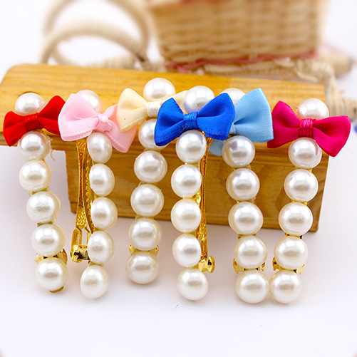 Pearl bowknot hairpin, free home delivery han edition hair pearl four petals small clip hairpin edge clip a word free home delivery