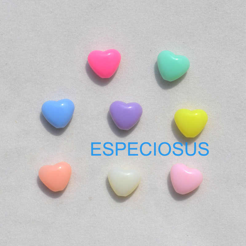 Cartoon Small Heart Bracelet DIY Accessory Mix Color Acrylic Beads Earring Department 9MM Children jewelry Making Finding 100pcs