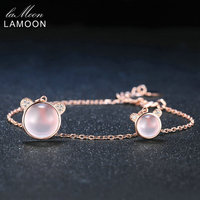 LAMOON Piękny Niedźwiedź S925 Bransoletka Naturalny Kamień Rose Quartz 925 Sterling Silver Bransoletki Wzrosła Łańcucha Urok Biżuterii