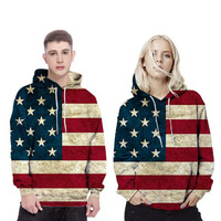Mr 1991INC Male Long Sleeve American Flag 3D Digital Print Hoodie Sweatshirt O Neck Slim Men
