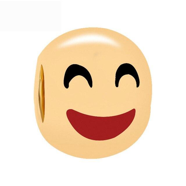 Free Shipping Christmas Gift 1pc Gold Color Happy Emoj Big Hole Bead Charms  Fit European Pandora