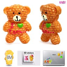5pcs Brick Wall Cute Bear Zoo 3D Resin Flatback Cabochon Strong Stickers For Laptop Suitcase Phone Car Hair Bow DIY Crafts(China)