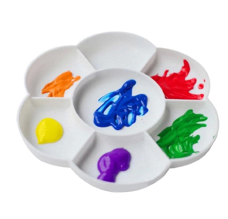 Plum Blossom Palette Seven-grid Water-Powder Palette Pigment Double Cover Available Diameter 16 Cm Artistic Supplies Painting