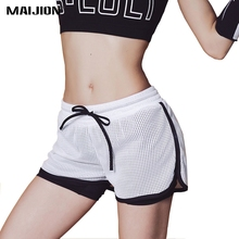 MAIJION 2 in 1 Women Sports Running Shorts Breathable Double Layer Jogging Fitness Shorts Quick Drying Gym Athletic Tight Shorts