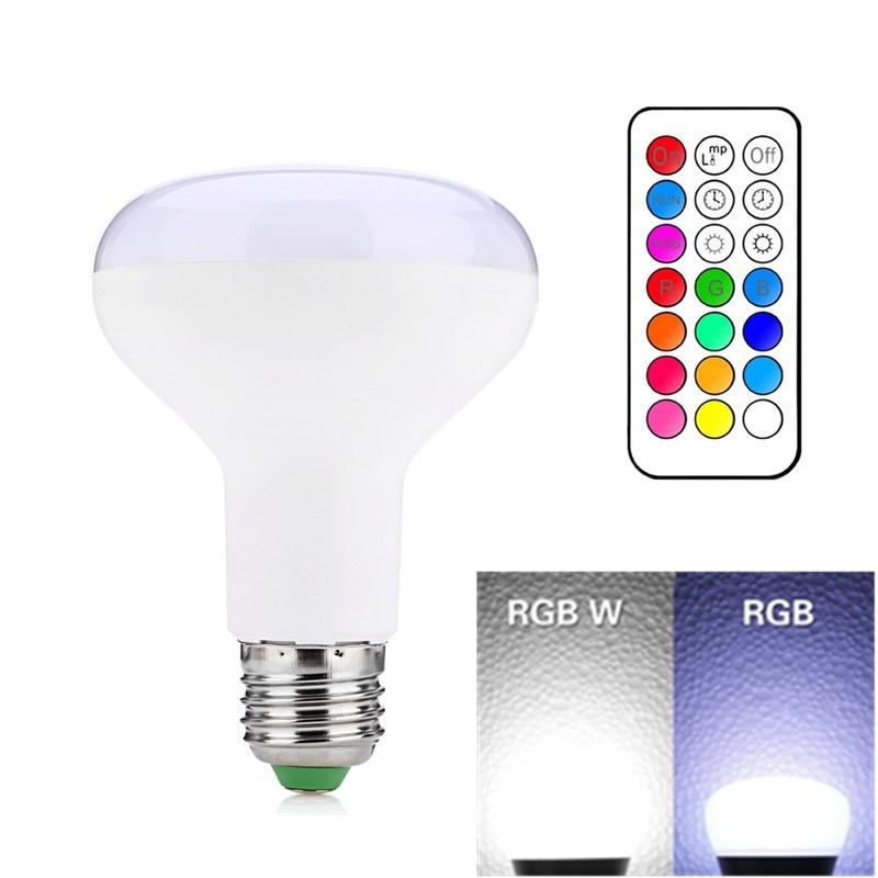 Free shipping 1PCS R80 LED Bulb Light E27 RGBW RGBWW AC85-265V 10W Changeable Color With Timming Remote Control Lamp Leds r80 e27 b22 10w led bulb light lamp high power 10 leds 1000 lm led downlight lamp ac 110 240v