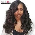 Não transformados virgem cabelo full lace perucas com franja onda do corpo brasileiro frente perucas de cabelo humano para as mulheres negras 130 densidade