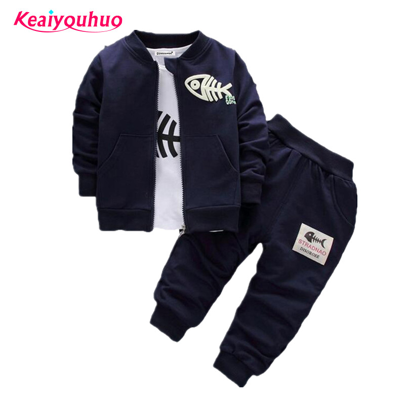 Kids Clothes Boys Clothing set 3pcs outwear+shirt+kids Pants Toddler Boys Clothing Children Suits Baby Boy Clothes Sets 2017