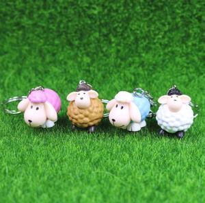 Image 3 - Owce brelok etui samochód brelok do kluczy Cute zwierząt wisiorek rysunek brelok prezent urodzinowy 4 kolory Mix 24 sztuk/partia hurtownie wysokiej jakości