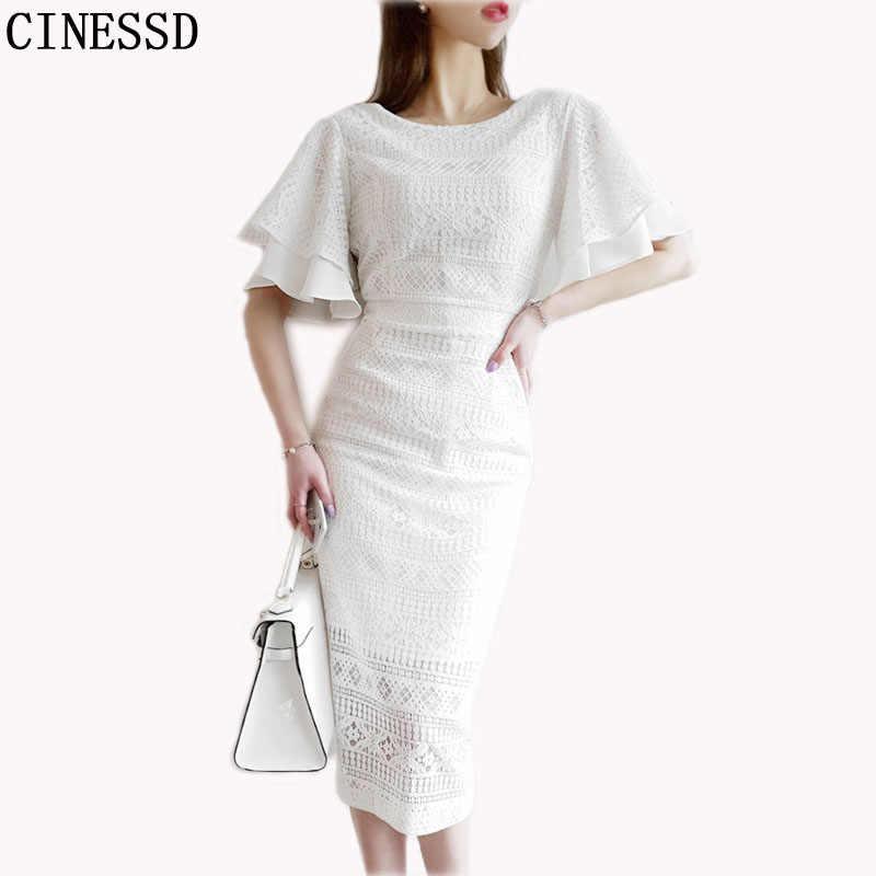 Femmes Longue Robe Maxi 2019 Ete Blanc Coton Sexy Dentelle Robes Droites Manches Courtes Papillon Robe De Soiree Robes Aliexpress