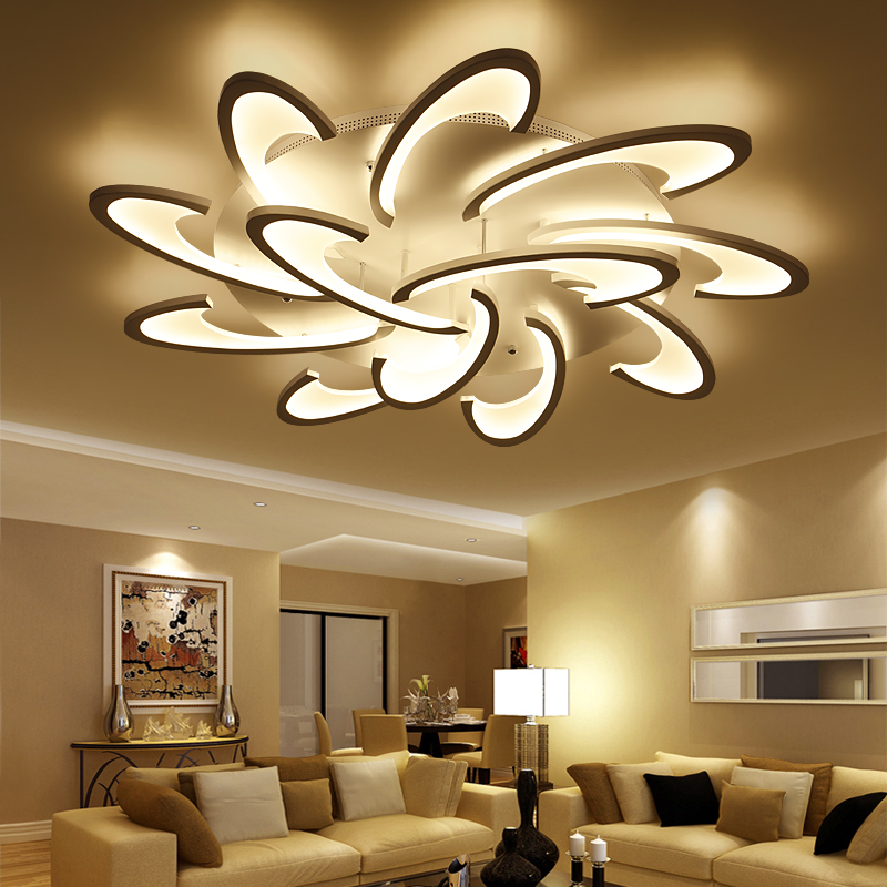 lican modern led ceiling chandelier lights for living room bedroom dining study room white black. Black Bedroom Furniture Sets. Home Design Ideas