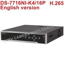 Freies verschiffen DS-7716NI-K4/16 P Englisch version 16CH 4 Karat NVR mit 4 SATA und 16 POE ANR, alarm Aufnahme bis zu 8 MP kamera H.265