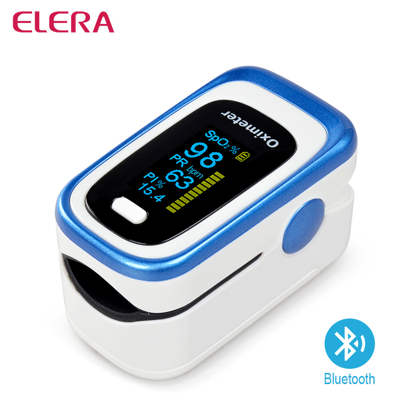 ELERA Bluetooth Finger Pulse Oximeter SPO2 PR PI Oximetro De Dedo Blood Oxygen Saturation Pulsioximetro Health Care elera new finger pulse oximeter with pouch spo2 pr pi oximetro de pulso digital blood oxygen saturometro pulsioximetro