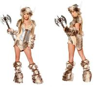 freeshipping Viking Warrior Cosplay Costume Woman Five Pieces Clothing Special Role Playing Style Garment Fluffy Disfraces Lady