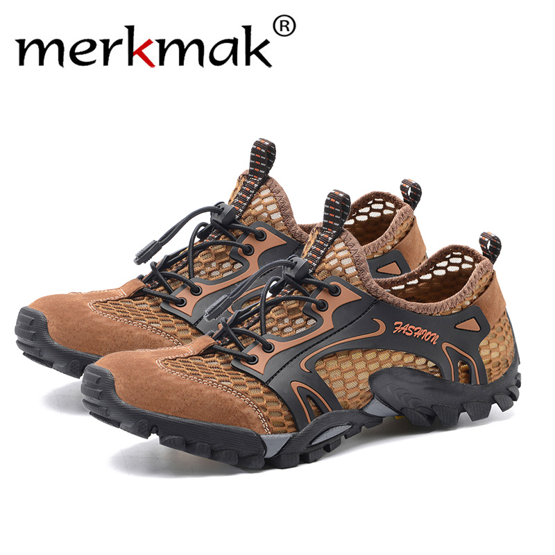 Merkmak Brand Summer Style Male Mesh Sandals Shoes Men Couples Casual Beach Breathable Light Lace-Up Quality Comfortable Sandal
