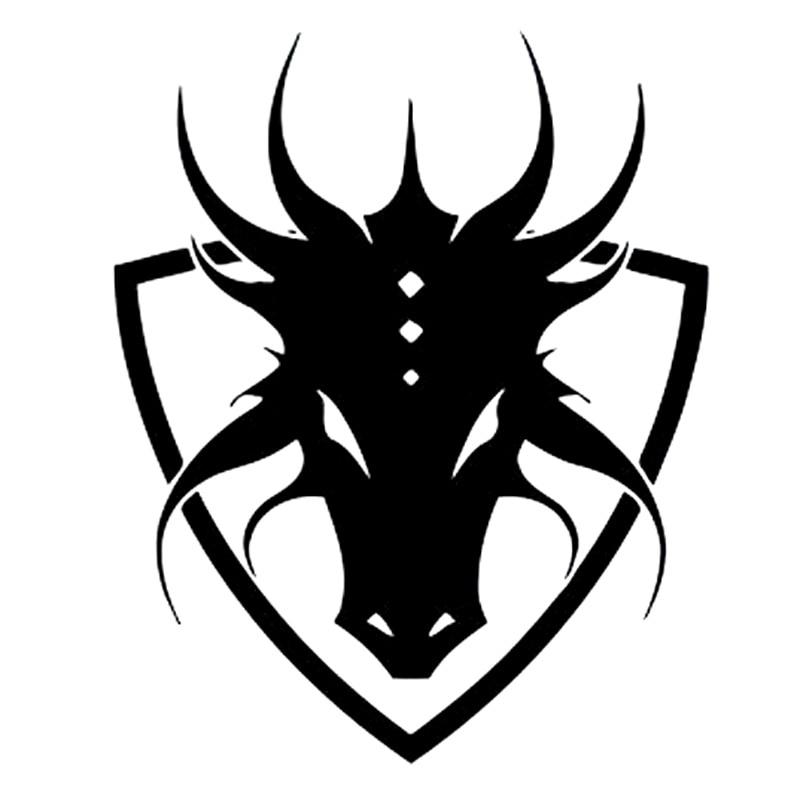 13.5cm*16.6cm Anime Manga Shield Logo Emblem Sign Dragon Car-styling Decals Car Stickers Black/Silver S6-2975
