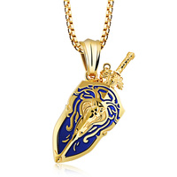 Heyrock Vintage Stainless Steel Sword Shield Lion Pendant Necklace For Men Boys Punk Style Jewelry Wholesale