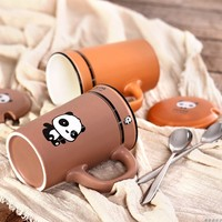 Originality Cartoon Ceramic Cup Panda Mug Coffee Cup Breakfast Glass Large Capacity Milk Cup with Lid and Spoon Home Kitchen