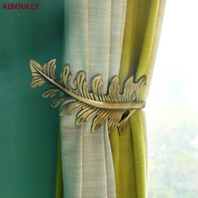 AIBOULLY Window Curtain Holder Living Room Holdback Europe Curtains Decoration Accessories Tieback Leaves Hooks