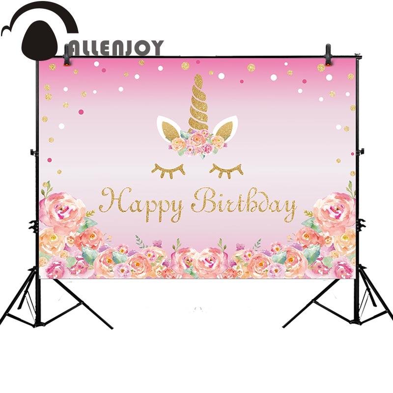 Allenjoy unicorn photography backdrop birthday pink flower party dots background photocall customize photo studio photobooth fabric birthday party backdrop balloon and paper craft photography backdrop for photo studio photography background s 2132 c