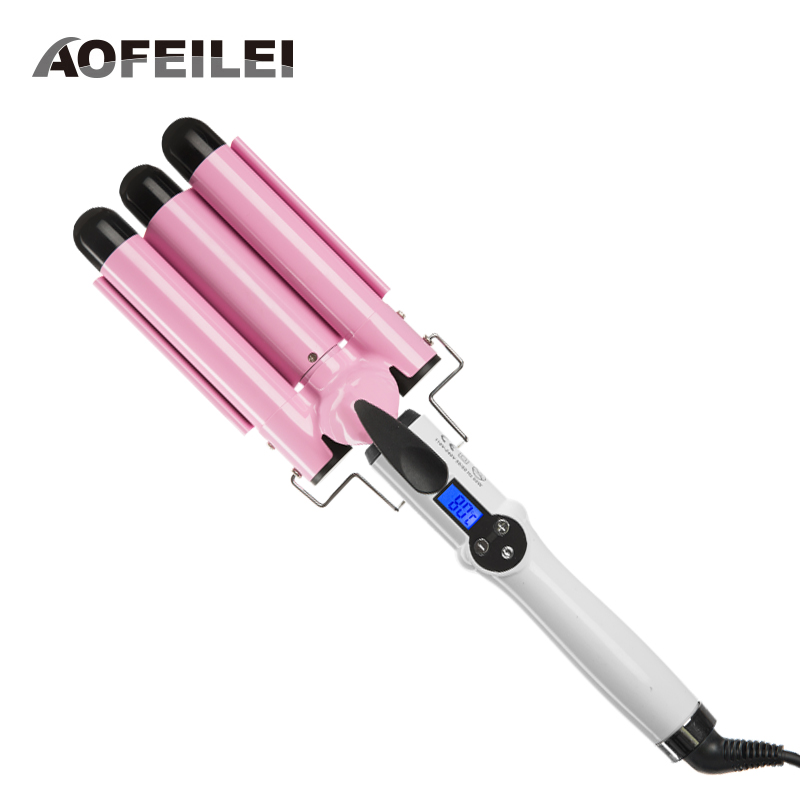 2018 Limited 3 Barrels Big Wave Professional Hair Curling Iron Automatic Perm Splint Curler Waver Curlers Rollers Styling Tools professional hair waver wave curler titanium ceramic hair curling iron 3 barrel clamp wave curler rollers styling tools