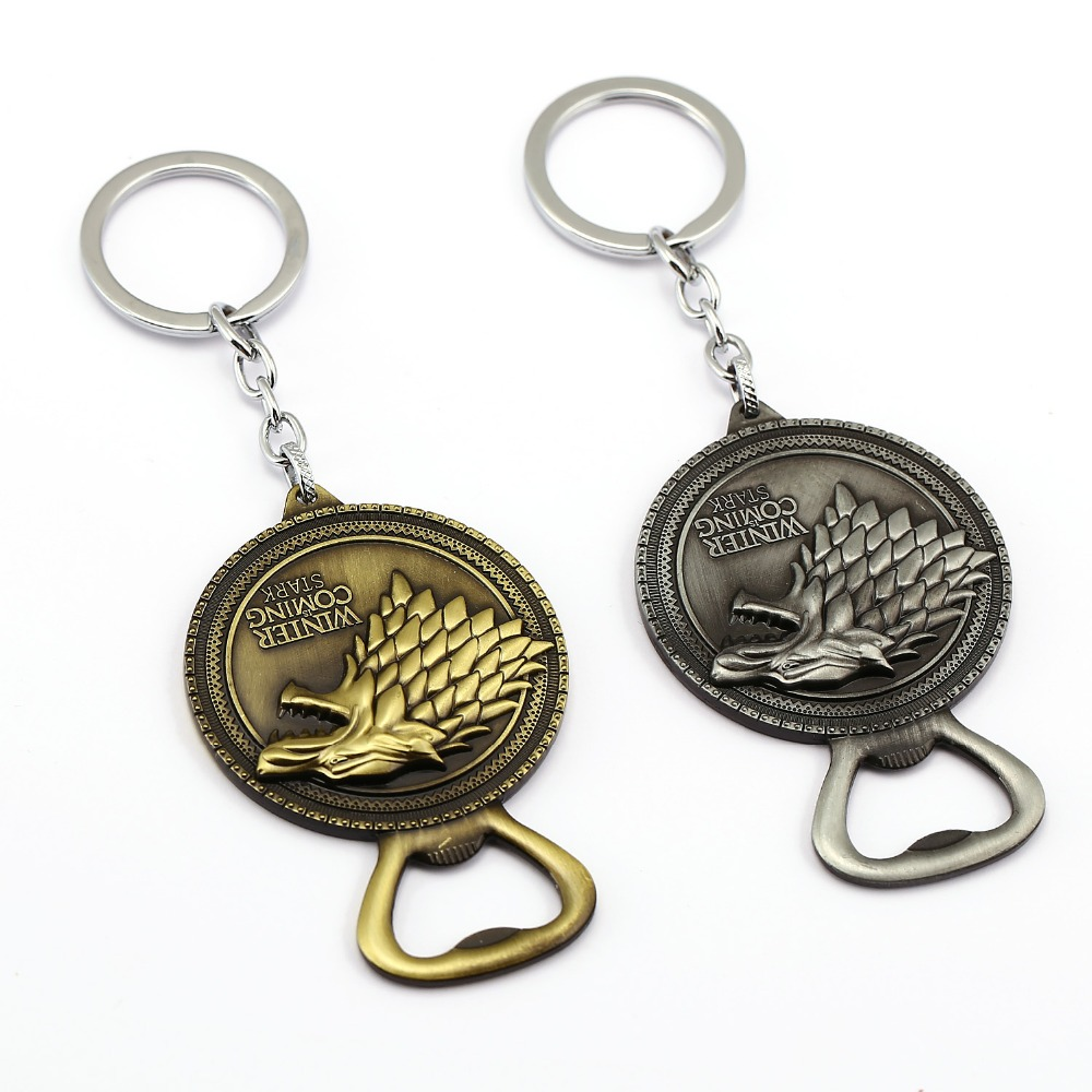 game of thrones keychain bottle opener key chain house stark key ring holder pendant chaveiro. Black Bedroom Furniture Sets. Home Design Ideas