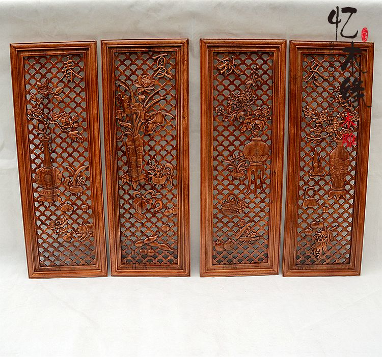 Dongyang woodcarving wall hanging screen background partition porch screen camphorwood four piece solid seasons vertical screenDongyang woodcarving wall hanging screen background partition porch screen camphorwood four piece solid seasons vertical screen