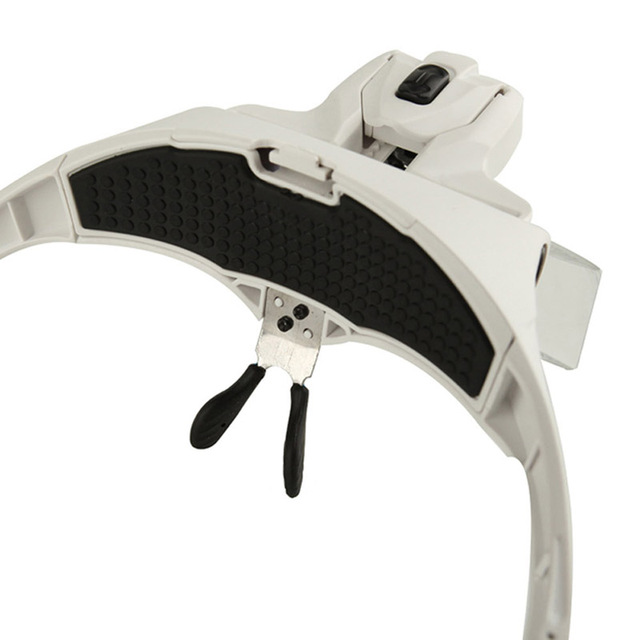 Magnifier Headband Magnifying Glasses with 2 LED Light Eye Watch Repair Tool1.0X 1.5X 2.0X 2.5X 3.5X 5 Lens Adjustable Loupe