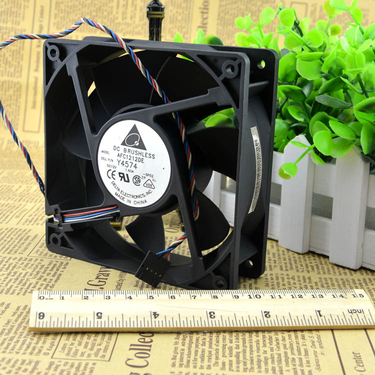 Original Delta AFC1212DE 12038 12cm 120mm DC 12V 1.6A pwm ball fan thermostat inverter server cooling fan free delivery 4e 115b fan 12038 iron leaf high temperature cooling fan 12cm